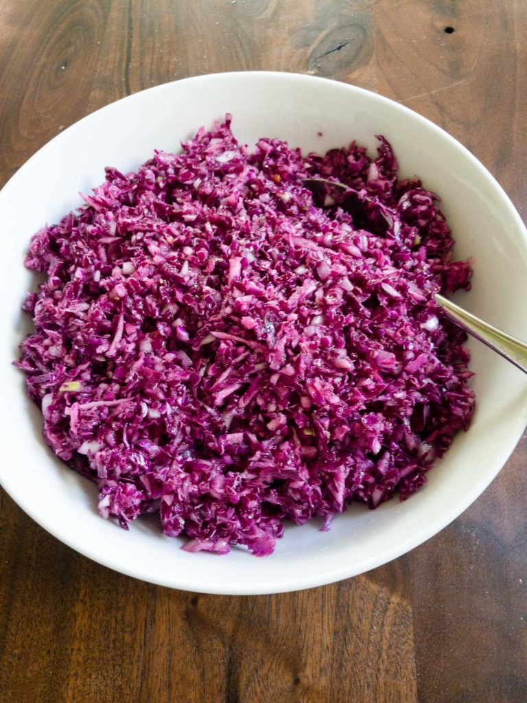 Finished red cabbage salad