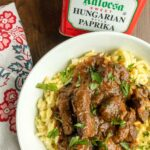 Goulash in bowl with spaetzle