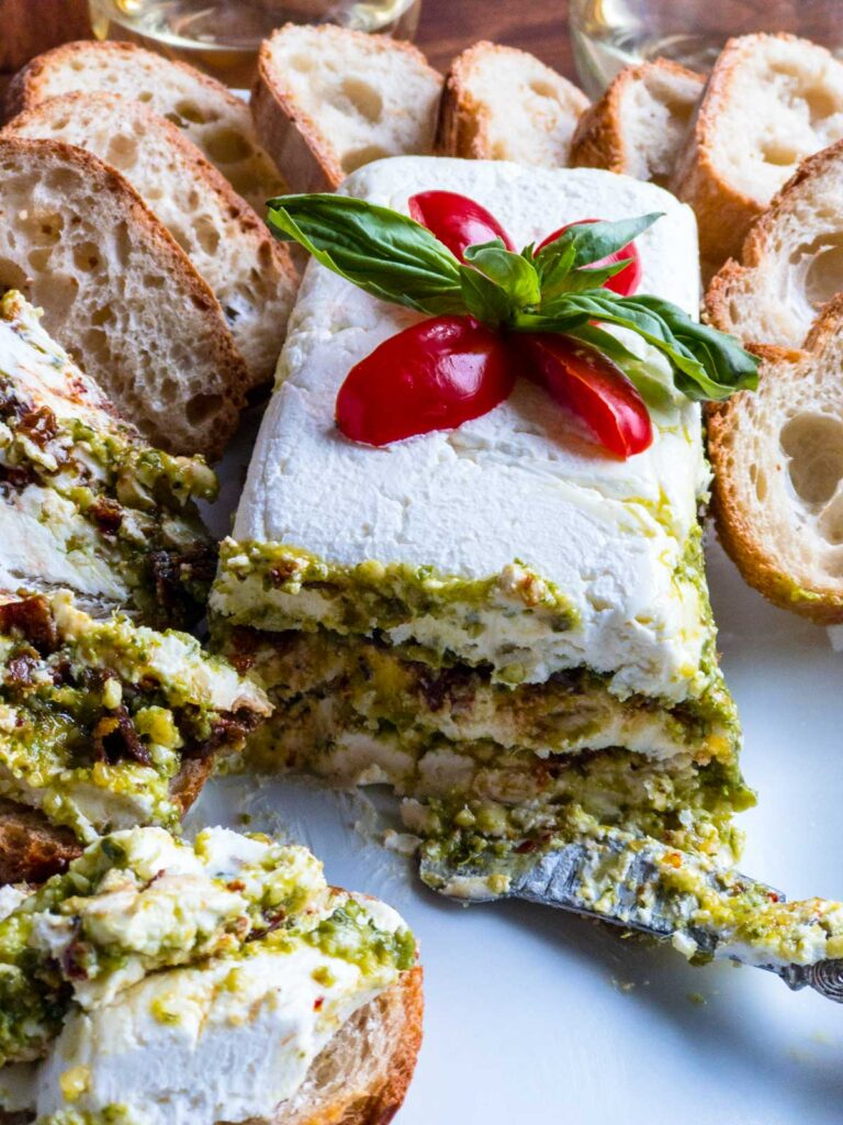Pesto with French bread slices and spread on bread slices