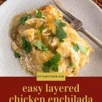 portion of chicken enchilada casserole on a round plate