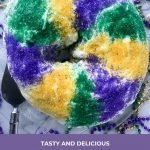 Round king cake on a platter