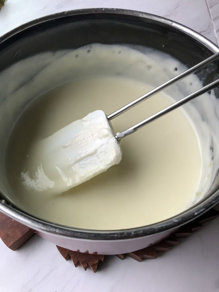 Yogurt mixture in a pan
