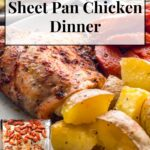 baked chicken thigh, roasted potatoes and carrots on a plate