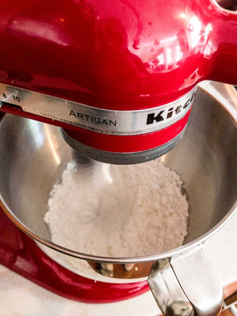 cottage cheese in a stand mixer
