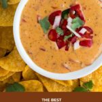 queso dip in a white bowl with tortilla chips