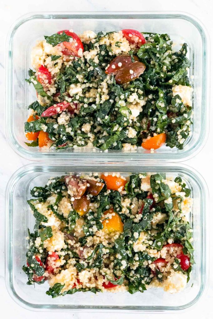 Kale and quinoa salad in rectangle glass containers