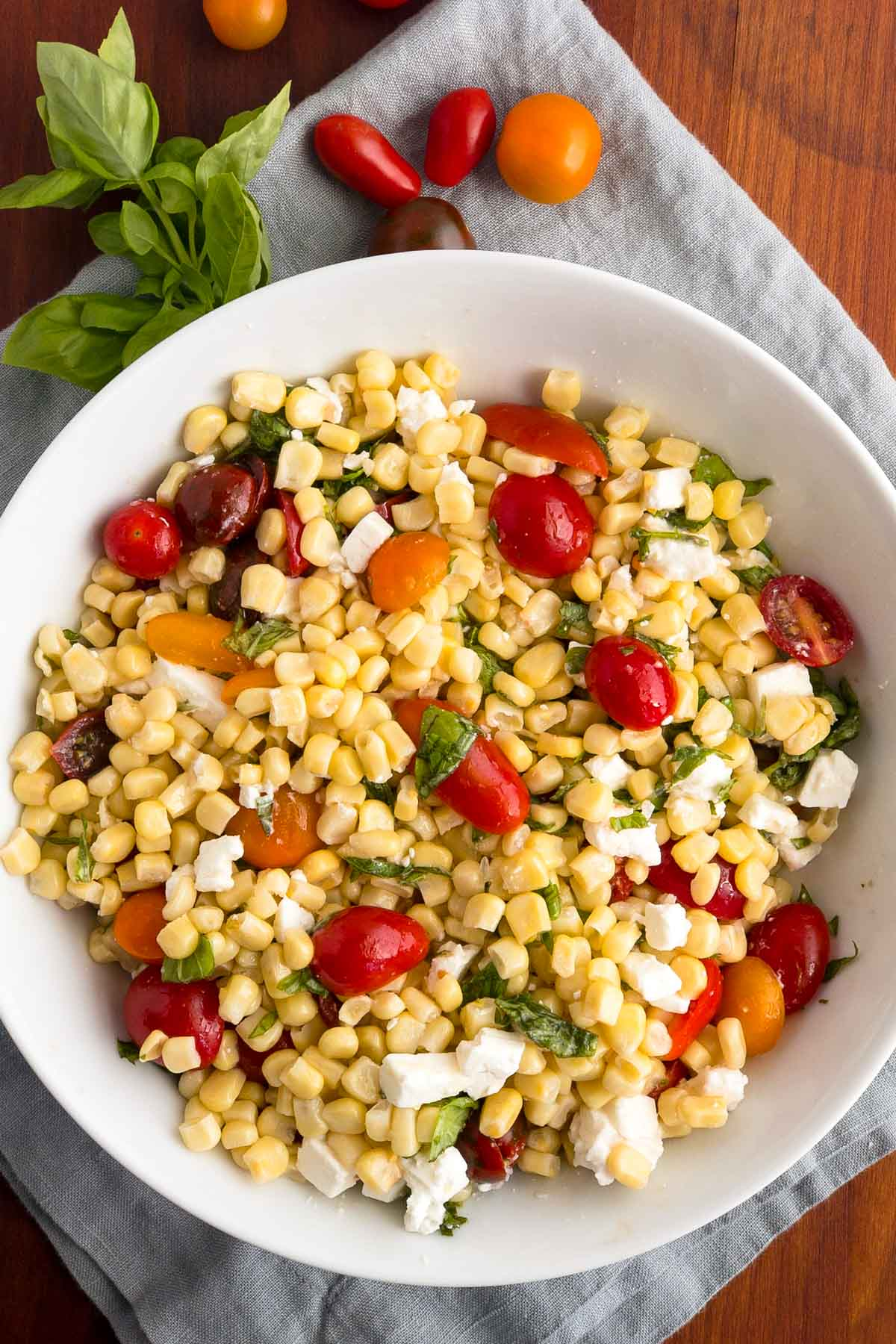 Corn and tomato salad with basil and feta cheese